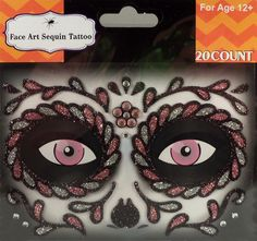 Rhinestone & Glitter Day of the Dead Pink & Black Sugar Skull Face Art Kit. Simply peel and stick each piece of the design over your accent make-up (eye shadow, blush, etc.) to apply! 24 different designs to choose from! Temporary Face Tattoos, Face Rhinestones, Rhinestone Makeup, Sugar Skull Face, Crystal Tattoo, Day Of The Dead, Face Art, Pink Black, Eye Shadow