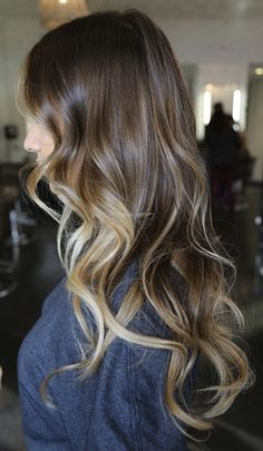Brown to Blonde Ombre. Seriously cute! I just don't know if I could pull the dark off... We'll see!