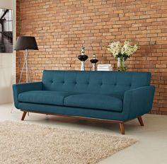 mid-century modern button-tufted back sofa