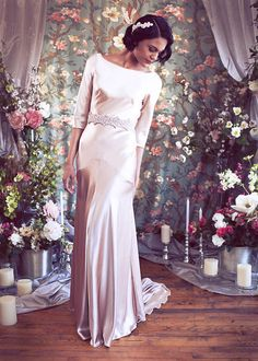 "Silk Satin Bateau with Low V back, Sleeves, 1930's Art Deco Bias Gown, Train, The ""Ingrid Gown"" By Schone Bridal"
