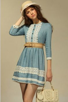 Retro Spring Lacy Jean Dress with Medium-length Sleeves