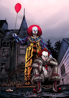 """Father & Son:IT & Pennywise. It """"the clown"""" And Pennywise """"the clown """" Clown Horror, Funny Horror, Creepy Clown, Arte Horror, Scary Wallpaper, Cartoon Wallpaper, Pennywise The Dancing Clown, Texas Chainsaw Massacre, Horror Artwork"""