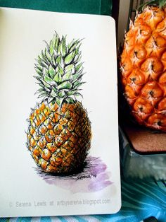Serena Lewis Art - A quick guide on how to sketch a pineapple using pen and watercolours.