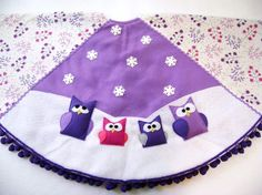 Owl Christmas Tree Skirt Crazy Christmas Red by RedMarionette ...