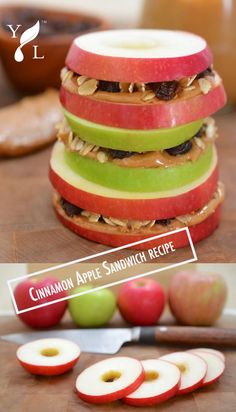 Apple Sandwiches With Honeyed Peanut Butter, Oats & Raisins Recipes ...