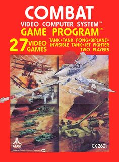 Box art for Combat, a video game by Atari 1977 Vintage Video Games, Classic Video Games, Retro Video Games, Vintage Games, Retro Games, First Video Game, Video Game Art, Games Box, Games To Play