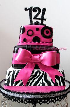 pink zebra fondant birthday cake