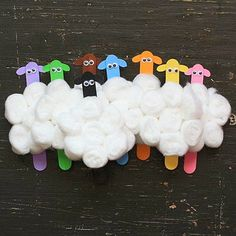 Flock of Sheep with Popsicle sticks and cotton balls. Bed Rested Teacher: Return with 50 Spring Crafts and Snacks!