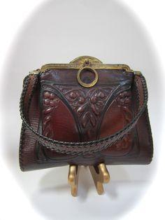 Art Nouveau arts and crafts leather purse by JemCo. $95.00, via Etsy.