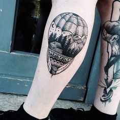 Landscape Hot Air Balloon Tattoo by Jessica Svartvit