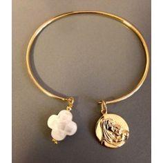 Bracelet Models - Bracelet Jonc plaqué or + vierge Marie nacre Diy Jewelry, Beaded Jewelry, Jewelry Design, Bohemian Jewelry, Leather Jewelry, Diamond Jewelry, Silver Jewelry, Top Casual, Bijoux Diy