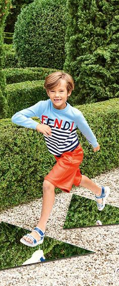 FENDI BOYS BLUE STRIPE LOGO SWEATER & RED SHORTS for Spring Summer 2018. Shop at Childrensalon (affiliate)  #fendi #girl #kidsfashion #minime #fashion #style #boysclothing #girlsclothing