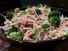 Quick, Kid Friendly Lunches! Ham & Broccoli Slaw.  Paleo, gluten-free, grain-free & dairy free. Even better with homemade mayo... it's worth the effort.