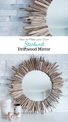 handmade home decor A beautiful rustic round mirror framed by pieces of driftwood. Check out the step-by-step tutorial for this coastal, beach-inspired DIY home decor project.