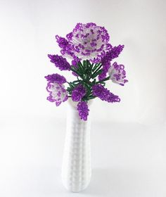 White Blooming french beaded flowers with lavender