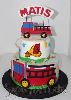 Fire Truck Cake my birthday is in August I want this cake!! Red velvet please with cream cheese frosting extra cream cheesy!!