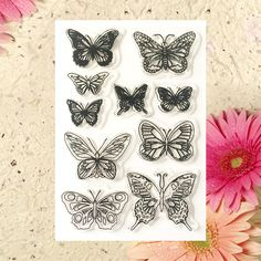cheap butterfly ink rubber stamps decoration photo album tools 1sheet/lot 11x15cm