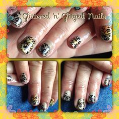 Beautiful Gelish nails with pigment powders and nail art stamping also used gel extensions on a few nails to try and even length out x
