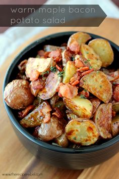 Warm Maple Bacon Potato Salad: the best kind of salad! Crispy roasted potatoes with a smoky, sweet, tangy vinaigrette. www.thereciperebel.com