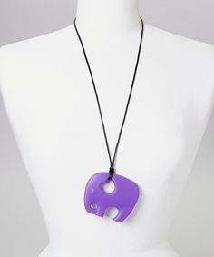 Take a look at the Purple Ellie Elephant Teether Necklace - Women on #zulily today!