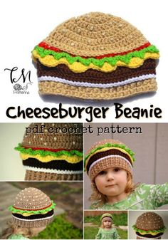 Knit & Crochet for Kids Fun crochet pattern for this cheeseburger hat! Perfect crochet beanie pattern for the hamburger lover! Knit & Crochet for Kids Fun crochet pattern for this cheeseburger hat! Perfect crochet beanie pattern for the hamburger lover! Diy Tricot Crochet, Bonnet Crochet, Crochet Beanie Pattern, Knit Or Crochet, Crochet Stitches, Free Crochet, Crochet Shawl, Crochet Kids Hats, Knitting For Kids