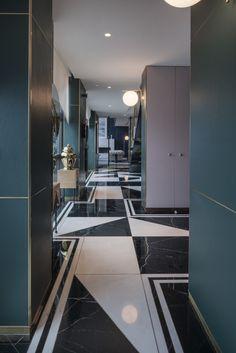 Art Deco inspired penthouse blends texture and materials to create lavish apartment Contemporary Bathroom Designs, Contemporary Interior Design, Contemporary Furniture, Home Interior Design, Interior Stairs, Interior Ideas, Art Deco Bar, Art Deco Design, Interiores Art Deco
