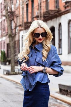 street chic style - office outfit - work outfit - party outfit -  summer outfit - fall outfit - business casual - denim on denim - denim pencil skirt + denim stilettos + denim kimono jacket + black sunglasses + brown fringe crossbody bag