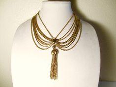 "Monet Chain Necklace Gold Tone Tassel 4"" #Monet #StrandString"