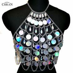 b49468b79 Chran Holographic Discs Sequins Crop Top Belly Waist Belt Mirror Chain  Necklace Rave Bra Bralete Festival Wear Jewelry CRS413