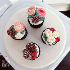 +Choco chocolate flower buttercream cupcake for Christmas/christmas cupcake/x-mas cake/butter cream cake/cupcake decorating tips ... made by SPECIAL MOMENT