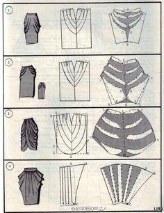 Verschiedene Rockschnitte - Different Skirt Pattern draping cowl Drape Skirt Pattern, Pattern Draping, Dress Sewing Patterns, Clothing Patterns, Skirt Patterns, Coat Patterns, Blouse Patterns, Skirt Sewing, Fashion Sewing