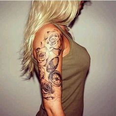 Sexy upper ARM tattoo with roses & clocks. http://tattooesque.com