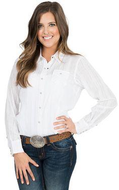 Ariat Women's Alice White Dobby Stripe Long Sleeve Western Snap Shirt   Cavender's