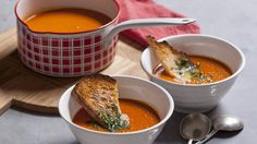 Cream of tomato and bacon soup from Karen Martini. Made with bacon bones.