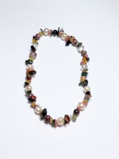 Tourmaline and Freshwater Pearl Stretch Bracelet by tzteja on Etsy, $15.00