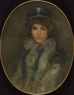Blue and Coral: The Little Blue Bonnet (1889) by James Abbott McNeill Whistler, born July 10th, 1834.