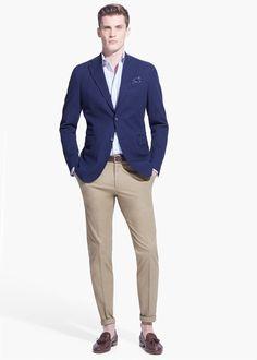 Mango Zikzak dokuma blazer ceket Navy Blue Blazer Mens, Blue Blazer Outfit Men, Chinos Men Outfit, Royal Blue T Shirt, Blazer Outfits Men, Gray Blazer, Navy Jacket, Blazer Bleu, Men's Apparel