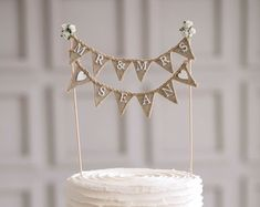 Just Married Wedding Cake Topper Banner rustic wedding cake
