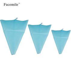 Facemile 3pcs/set Reusable Silicone Reusable Cake Icing Piping Cream Bag Fondant Decorating Supplies Baking Tools ZH012