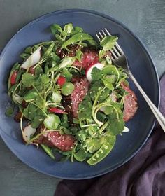 Steak and Watercress Salad With Spicy Miso Dressing recipe from realsimple.com #myplate #protein