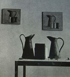 Giorgio Morandi (studio) Italian Painters, Italian Artist, Artist Workspace, Simple Subject, Still Life Drawing, Still Life Photos, Ceramic Artists, Vase, Artist At Work