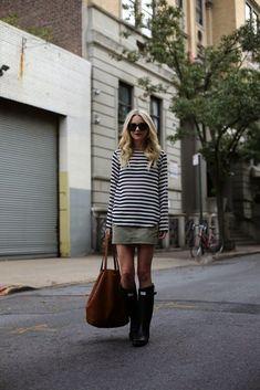 striped shirt dress with rain boots