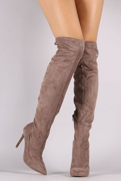 Suede Back Lace Up Stretchy Stiletto Boots