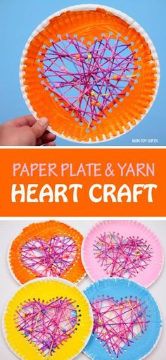Yarn and paper plate heart craft for kids to make on Valentine's Day. Fun Valentine decoration #valentinesday #valentinecraft #paperplatecraft