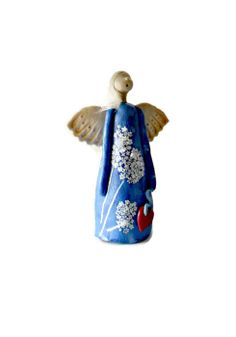 Standing Angel Sculpture Clay Sculpture Blue Angel by AngeliquEve, Angel Sculpture, Sculpture Clay, Angel Ornaments, Christmas Ornaments, Ceramic Angels, Clay Figurine, Blue Angels, Angel Art, Christmas In July