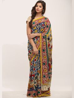 18 Kalamkari Sarees and With Matching Blouses Chanderi Silk Saree, Crepe Saree, Kalamkari Saree, Pure Silk Sarees, Cotton Saree, Saree Models, Stylish Sarees, Beautiful Saree, Beautiful Women
