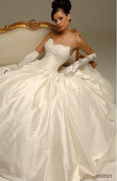 Strapless Applique Dropped Chapel Train Tulle Taffeta Wedding Dress for Brides
