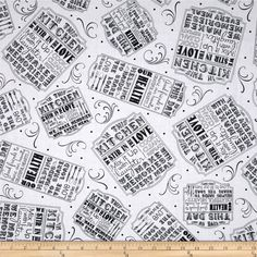 Give Us This Day Kitchen Signs White from @fabricdotcom  Designed by Tara Reed for Quilting Treasures, this cotton print is perfect for quilting, apparel and home decor accents. Colors include black and white.