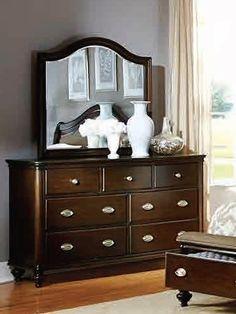 Marston Classic Dark Cherry Wood Glass Dresser