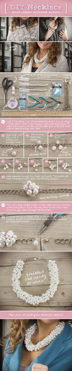 DIY Pearl Cluster Statement Necklace